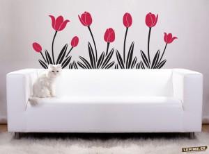 tulipány jako samolepka na zeď
